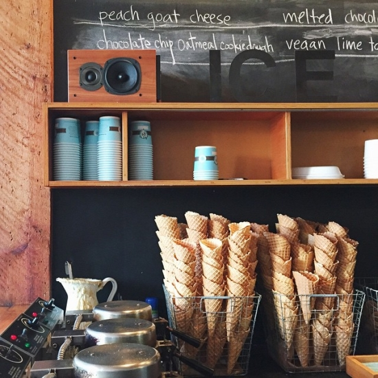 Baskets of fresh waffle cones