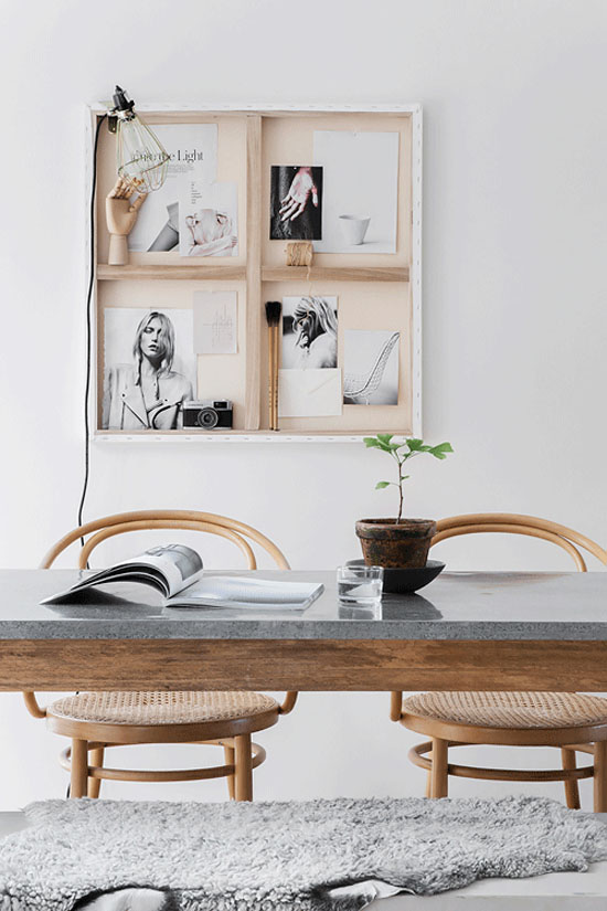 Turn the back of a canvas into a display for art and trinkets