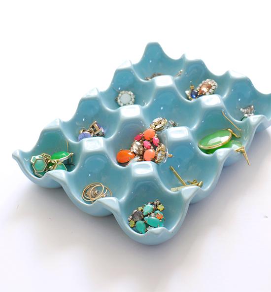 Store earrings in a ceramic egg carton