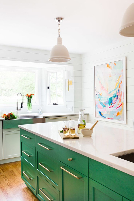 Colorful painted cabinets
