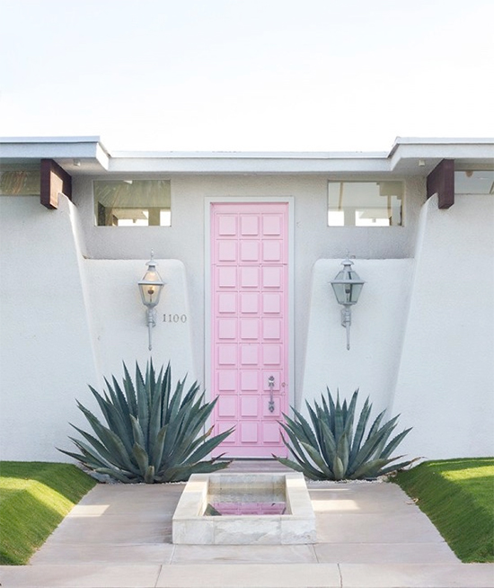 Pink door in Palm Springs