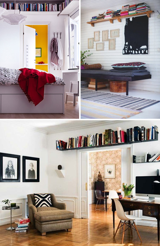 Trend to try: Floating shelves mounted close to the ceiling. Perfect for small spaces!