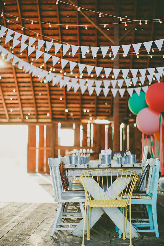 Beautiful party in a barn