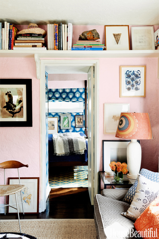Small space decorating tip: Put shelves way up high to maximize storage and take advantage of vertical space