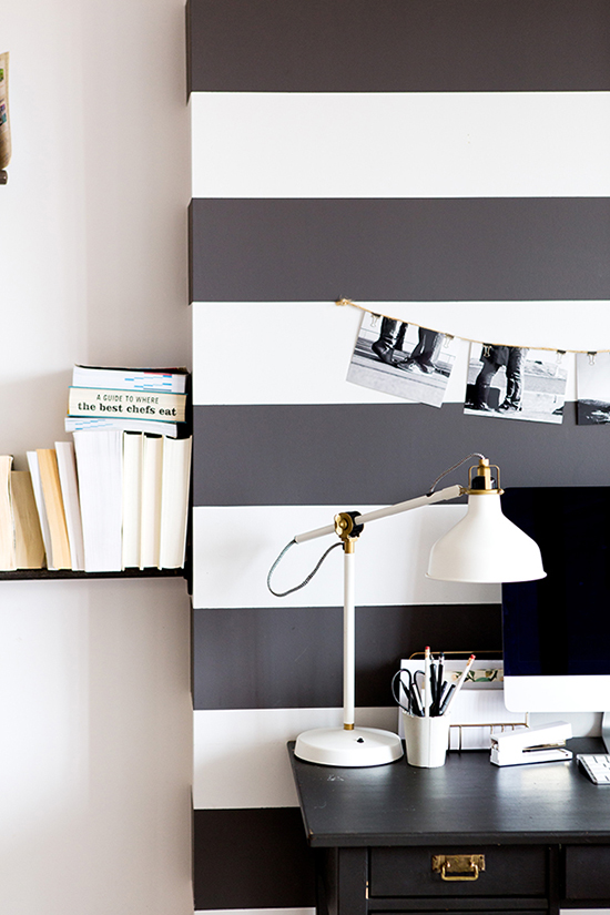 Paint black and white stripes to create a separate and distinct space within a room.