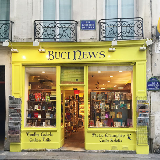 Colorful storefront in Paris