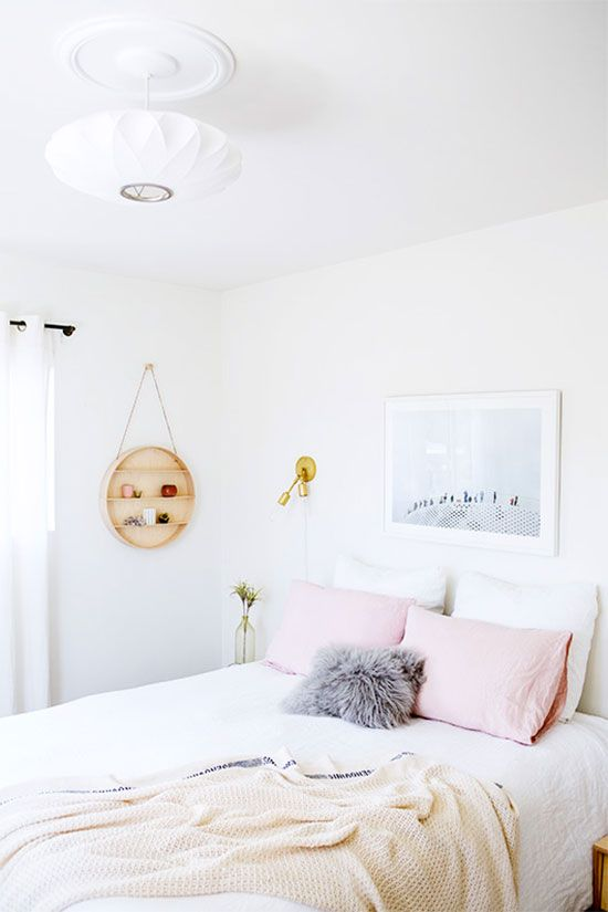 Large-scale art in the bedroom