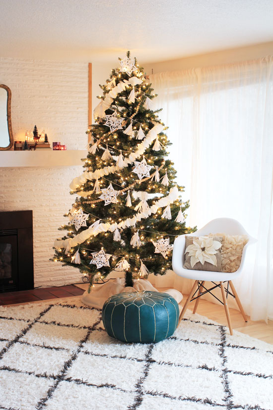 Christmas tree with DIY paper garlands