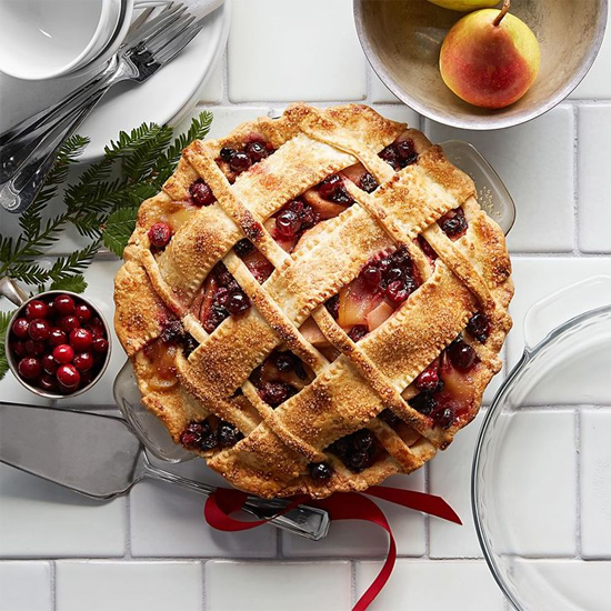 Cranberry-pear pie with the prettiest lattice crust