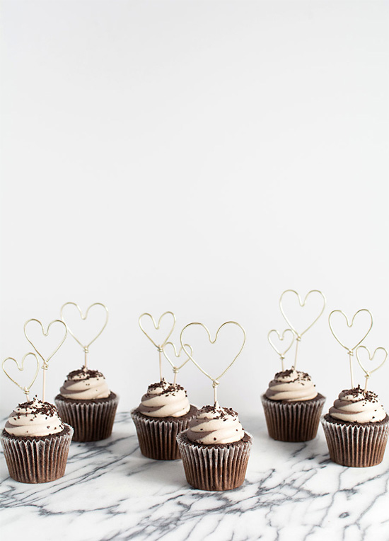 Cupcakes with heart toppers