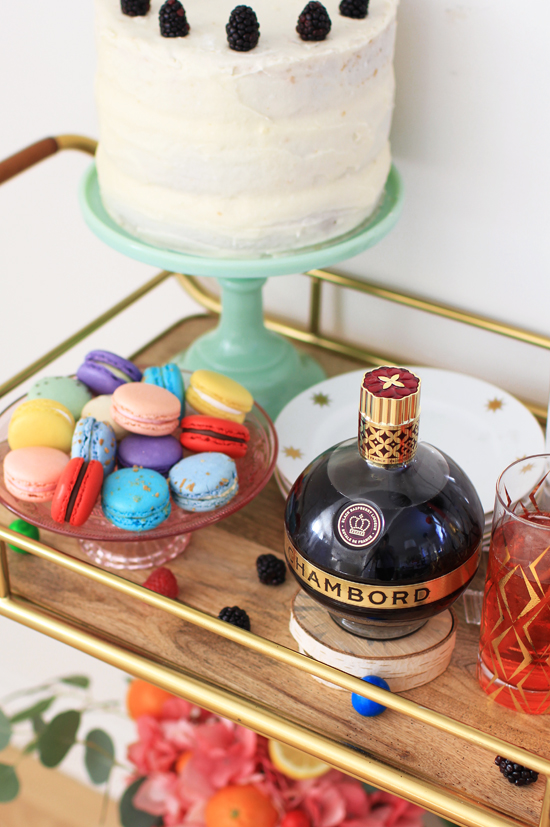Macarons and Chambord cocktails