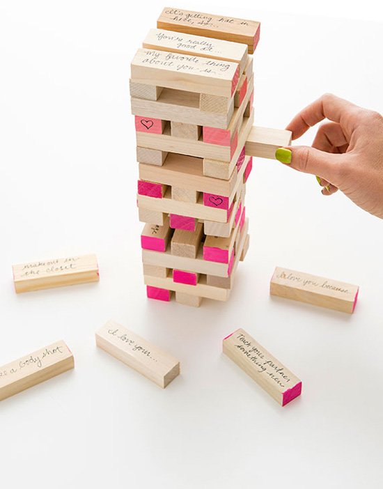DIY Jenga with love notes