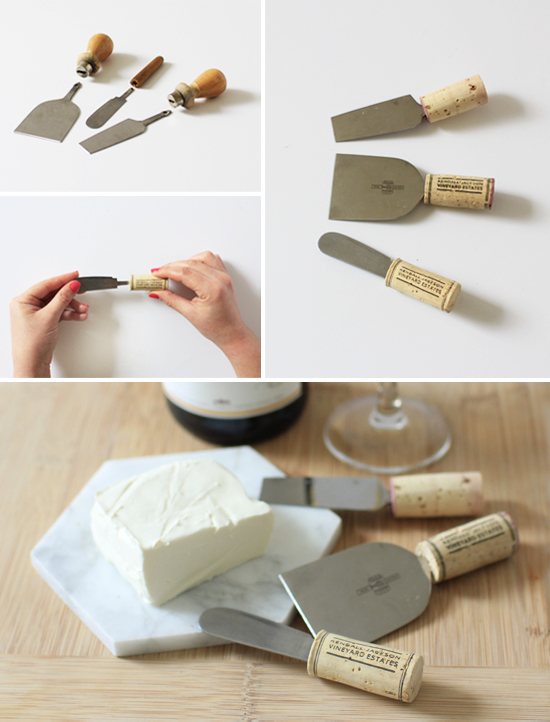 DIY wine cork cheese knives