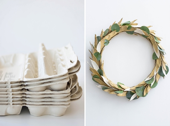 DIY wreath made out of egg cartons