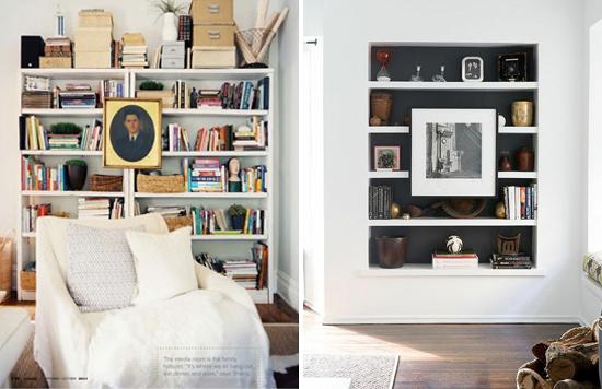 Creative ways to hang art #6: Hang art on front of bookshelf
