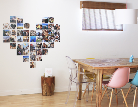 DIY giant valentine made of photos from throughout your relationship