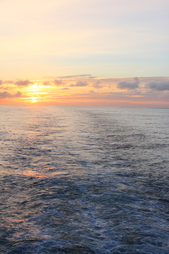 Sunset on the open ocean