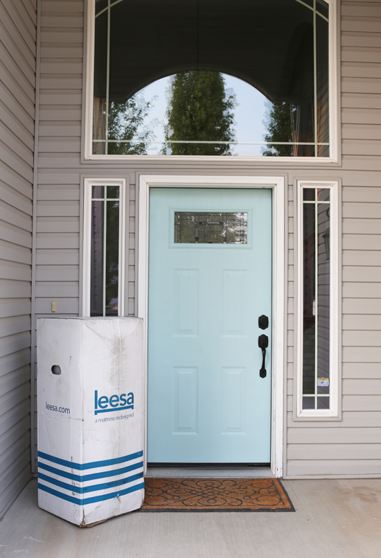Leesa - mattress in a box that gets delivered to your front door! That's a KING size mattress in that box.