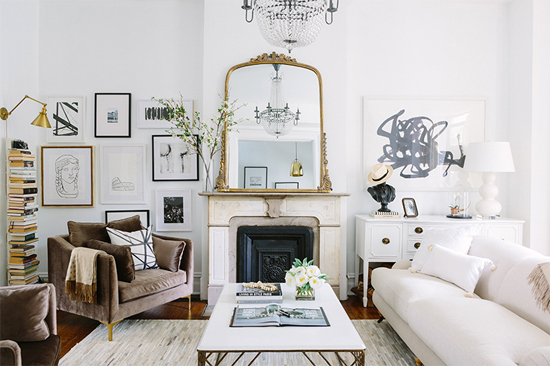 Living room plans: mantel + mirror