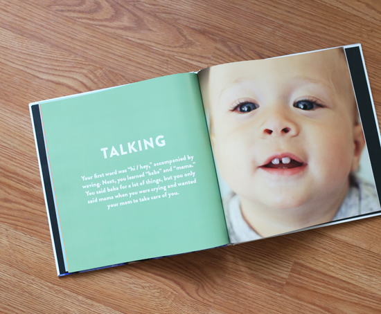 One year baby milestones photo book