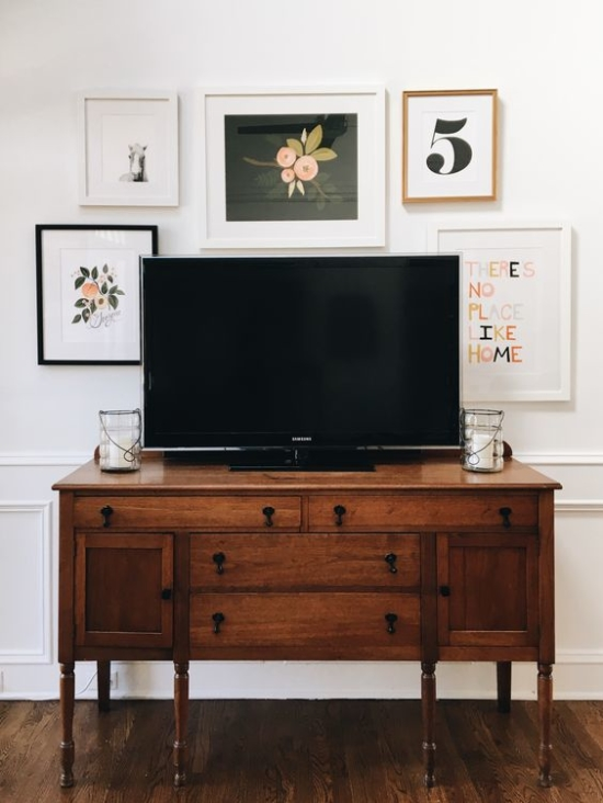 Vintage credenza as TV stand