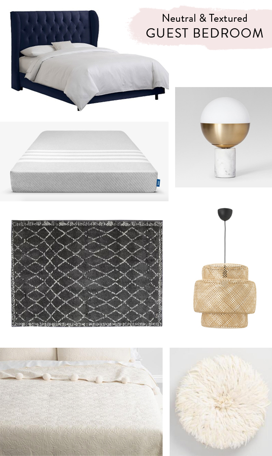 Neutral, textured guest bedroom - shopping sources
