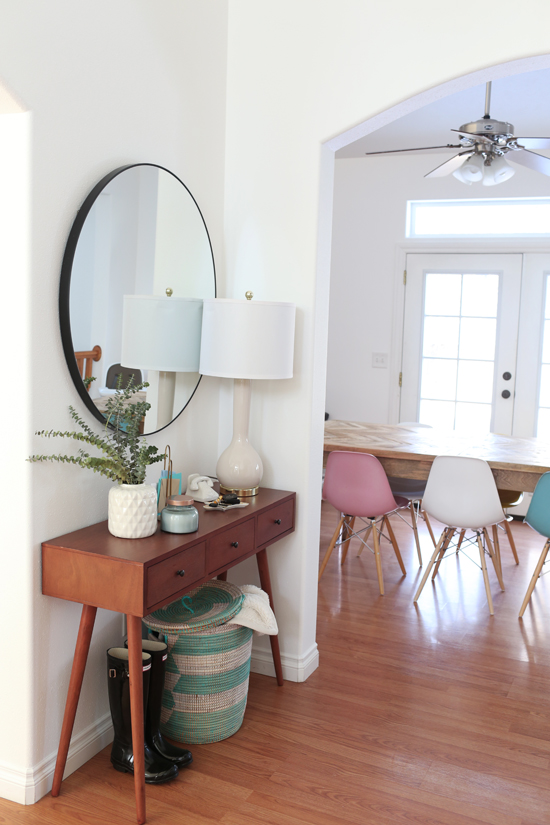 Mid-century style entryway console