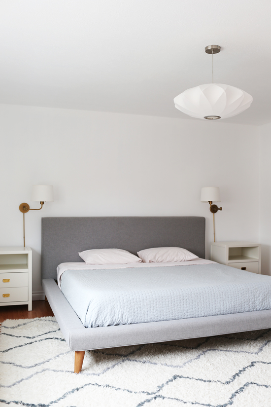 Modern, neutral bedroom