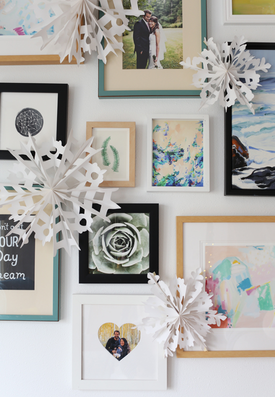 Add snowflakes to gallery wall for winter