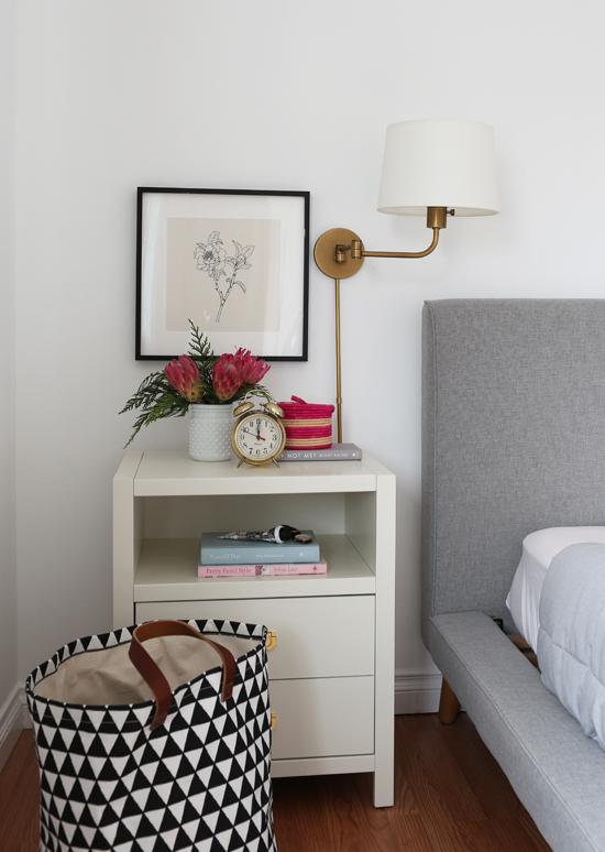Art above nightstand