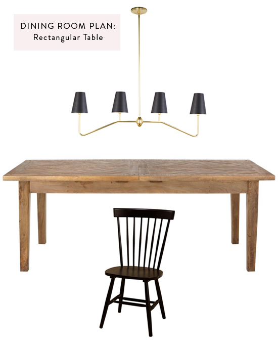 Dining room plan: rectangular table