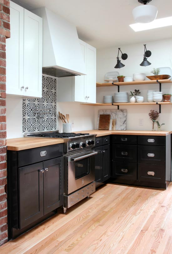 Black, white & butcher block kitchen