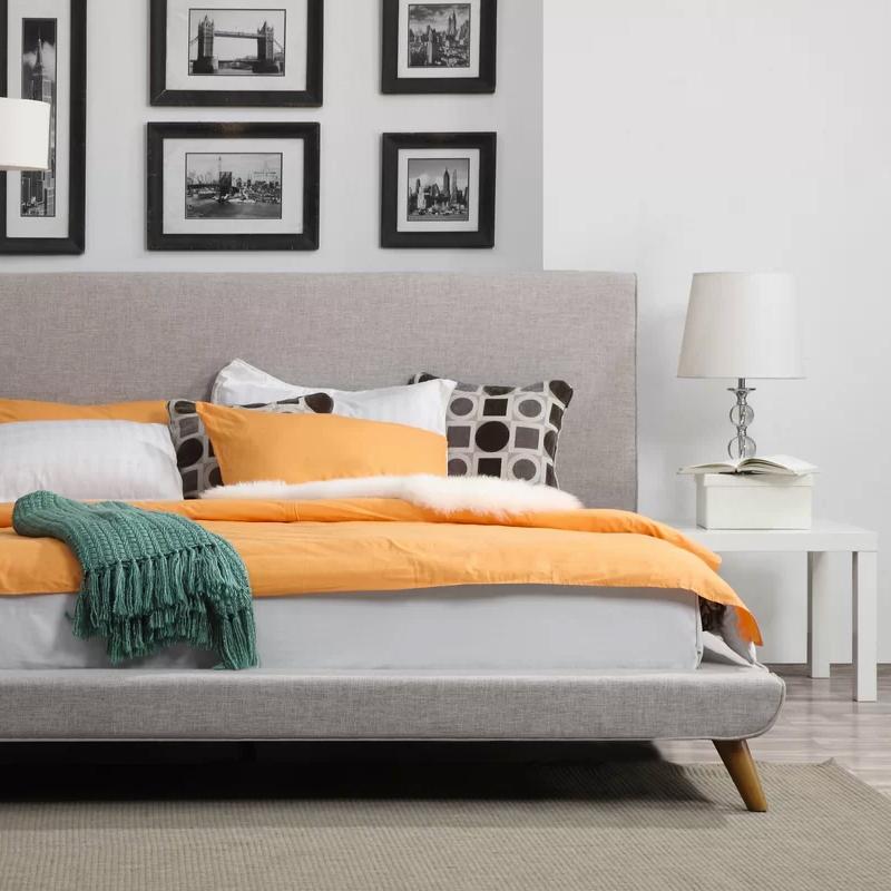 p bed black upholstered frame platform queen