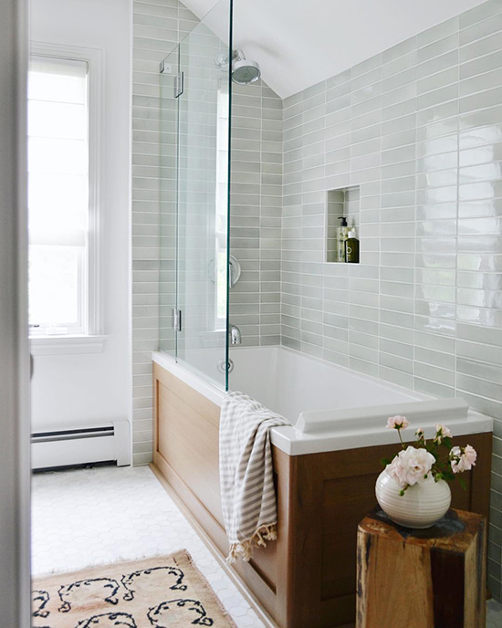 Gorgeous bathroom with grey tile