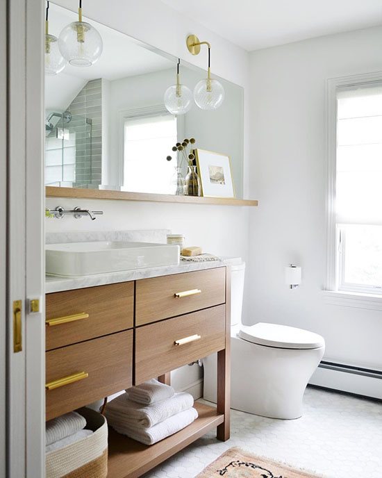 Bathroom inspiration - love the shelf under the mirror