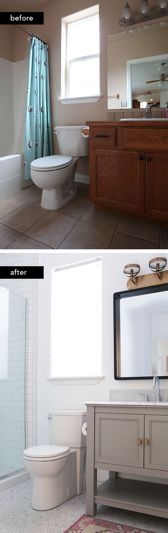our budget friendly guest bathroom remodel at home in love