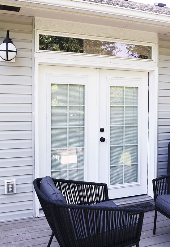How to get new exterior doors on a budget at home in love - Exterior french doors with blinds ...
