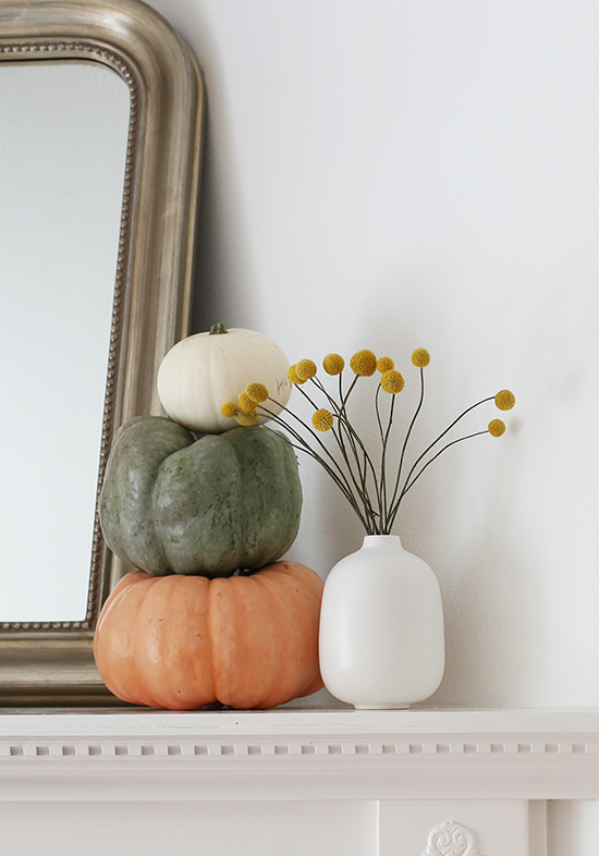 Fall decor with billy balls and pumpkins