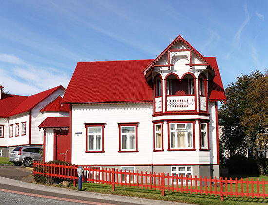 Red and white house